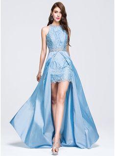 A-Line/Princess Scoop Neck Sweep Train Taffeta Prom Dress With Beading Sequins