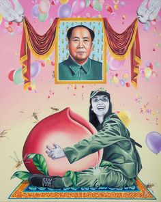 """""""Humbly Offering Chairman Mao Ten Thousand Years of Boundless Longevity"""" by Ashley Thompson. Oil on canvas, 60"""" x 48"""""""