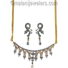 Diamond Delightful Necklace Set 18 Karat Gold. SKU # 301-01354 http://www.malanijewelers.com/Diamond-Necklace-Sets.aspx?size=21