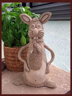 Produkty :: Keramika DagmarRa Pottery Classes, Garden Sculpture, Decoration, Bunny, Clay, Outdoor Decor, Animals, Sculptures, Pottery