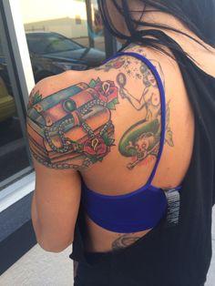 Treasure chest tattoo #tattoo #piratetattoo #treasurechest