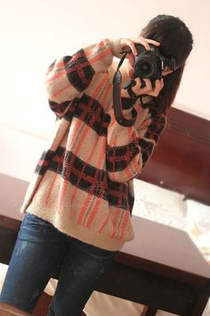 Relaxed Checked Sweater  - DressLily.com