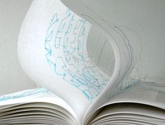 Traumgedanken/Dream Thoughts by Maria Fischer: The book is designed as a model of a dream about dreaming… The threads visualise their confusion and fragileness.  (quote from http://ebookfriendly.com/most-creative-books/ )