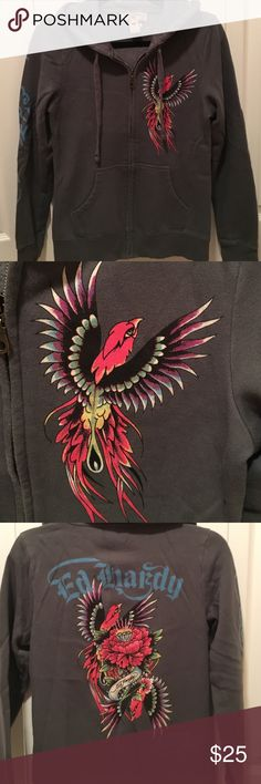 Ed hardy zip up hoodie never worn If you like ed hardy you'll love this. ❤️ grey  with beautiful detail colors Ed Hardy Tops Sweatshirts & Hoodies