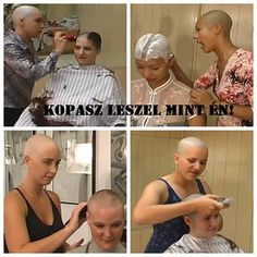 If you're a girl who's decided to go bald, it helps to have a haircut buddy. Shave Eyebrows, Forced Haircut, Buzz Cut Women, Shaved Hair Women, Skinhead Reggae, Girls With Shaved Heads, Shave My Head, Shaved Nape, Bald Hair