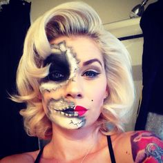 Marilyn Monroe day of the dead rockabilly pin-up skull face for a halloween Maske Halloween, Soirée Halloween, Creepy Halloween Makeup, Zombie Makeup, Skull Makeup, Sfx Makeup, Halloween Costumes, Marilyn Monroe Halloween Costume, Creepy Makeup