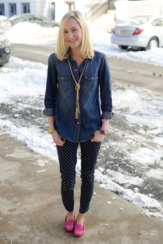 NYC, Post Blizzard: Denim Shirts, Polka Dot Pants, and Benevolent Jewels Necklaces (  a Giveaway!) | Kelly in the City