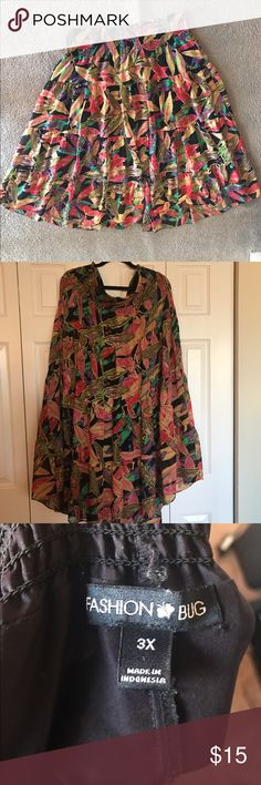 **FASHION BUG COLORFUL SKIRT** Im 5'3 so short comes to ankle. Very pretty and flows nicely. A line skirt. Fashion Bug Skirts Maxi
