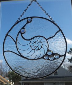beach shell scene stained glass | Nautilus Shell Stained Glass Panel by MiaMariya on Etsy
