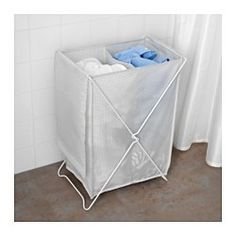 The two separate compartments help you to sort and organize your laundry. The laundry bag does not absorb moisture or odors from the laundry because it is made of polyester. Takes little room to store as it folds flat.