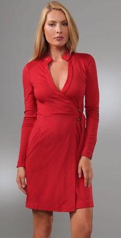 """DVF Diane Von Furstenberg """"Biker"""" Red Wool Wrap Dress"""