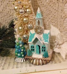 Blue Glitter House Church  Christmas Village by ThePokeyPoodle                                                                                                                                                                                 More