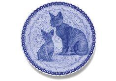 Devon Rex (kitten) Danish Blue Cat Plate
