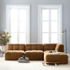 Cushy Lounge Sectional Sofa | Teen Sofa | Pottery Barn Teen Tufted Sofa, Armless Chair, Sectional Sofa, Sleeper Sofa, Couches, Clean Sofa, Lounge Seating, Lounge Couch, Square Ottoman