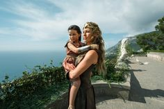 Connie Nielsen and Lilly Aspell in Wonder Woman (2017)