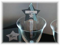 Marque places baptême garçon/bébé - thème étoile bleu  : Cuisine et service de table par declic-deco