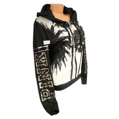 Pre-owned Victorias Secretpinksz Zip Hoodie Sequin Bling Blacktropical... ($175) ❤ liked on Polyvore featuring tops and victoria's secret