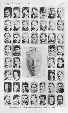 """Cesare Lombroso. Páginas del Atlas de l'homme criminel. 1887 Iconografía del """"otro criminal"""""""