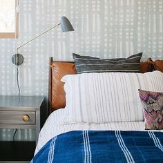 Mixed patterned bedroom | Natalie Myers & The Mod Hemian Photos by: Phoebe Joy Photography