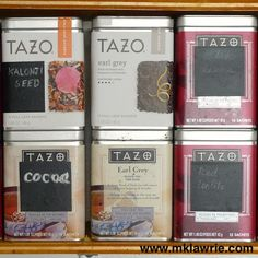 Love this idea for reusing tea tins schoolbordverf