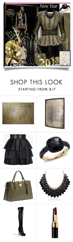 """""""Happy New Years🎉🎉🎉"""" by pebbles78 ❤ liked on Polyvore featuring Arteriors, Balmain, Pomellato, Miu Miu, Oliver Gal Artist Co., Adoriana, Sergio Rossi and Bobbi Brown Cosmetics"""