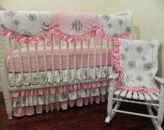 Bumperless Crib Bedding Set Adalys - Girl Baby Bedding, Pink Crib Bedding, Gray Baby Bedding, Scalloped Crib Rail Cover, Ruffle Skirt