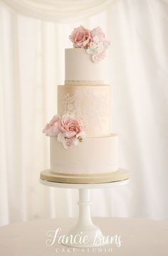 Blush & Gold Lustre Lace Wedding Cake #laceweddingcakes