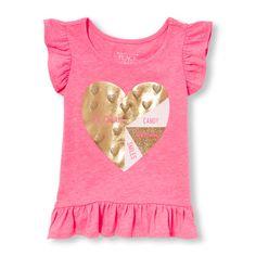 daca396b65d Baby Girls Toddler Short Sleeve Flutter Embellished Graphic Ruffle-Hem Top  - Pink - The