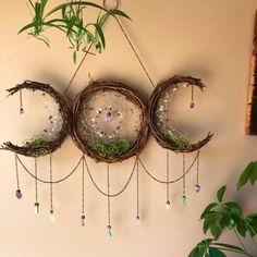 home decor themes Triple Goddess Moon Dreamcatcher Goddess Symbols, Triple Goddess Symbol, Celtic Mythology, Moon Dreamcatcher, Wiccan Crafts, Wiccan Decor, Wiccan Art, Spiritual Decor, Diy Tumblr