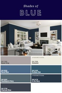 Just a few of my favorite shades of blue by Sherwin Williams.
