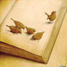Cuando los pájaros comen letras… después cantan canciones. Pero qué pasa con las historias de los libros cuando se quedan sin palabras? (ilustración de Pawel Kuczynski)