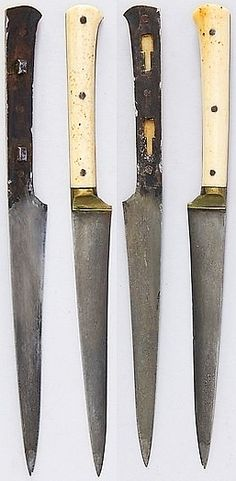 Indian kard twin daggers, 18th to 19th century, steel, silver, ivory, L. 8 9/16 in. (21.7 cm); L. of blade 5 in. (12.7 cm); Wt. 1.6 oz. (45.4 g), Met Museum, Bequest of George C. Stone, 1935.