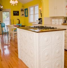 This is my niece's (and Jason's) kitchen which was featured in houzz (magazine.) Eclectic kitchen with island built from vintage ceiling tiles. Photo by Amy Clark Studios Eclectic Kitchen, New Kitchen, Vintage Kitchen, Kitchen Ideas, Kitchen Yellow, Yellow Kitchens, Funky Kitchen, Kitchen Board, Country Kitchen