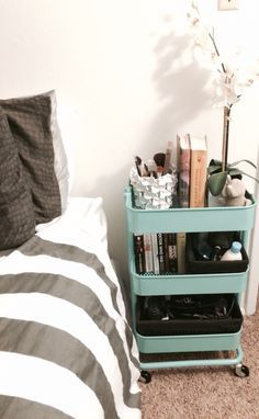 Ikea raskog cart for a night stand future home ideas in 2019 пространства, Raskog Ikea, Ikea Raskog Trolley, Ikea Cart, Dorm Room Bedding, Ikea Bedroom, Bedroom Furniture, Bedroom Decor, Cheap Furniture, Dorm Rooms