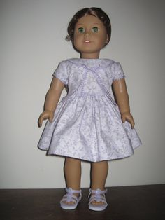 Lavendar Dress with Braid Trim for American Girl and by MarieGeorj, $32.00