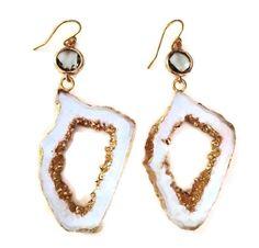 White Agate Geode Stone Earrings