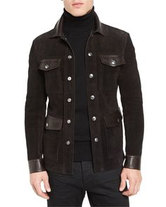 Suede & Leather 4-Pocket Shirt Jacket, Brown