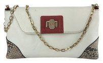 Furla White Leather white/red Clutch $164.35