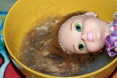 Detangling doll hair! @Melinda W Clarke Benedict