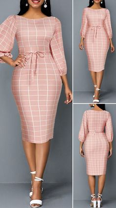Plaid Print Lantern Sleeve Tie Front Sheath Dress HOT SALES 2019 beautiful dresses pretty dresses holiday fashion dresses outfits dress cute dresses c. Short African Dresses, Latest African Fashion Dresses, African Print Fashion, Women's Fashion Dresses, Elegant Dresses Classy, Classy Dress, Pretty Dresses, Casual Dresses, Beautiful Dresses