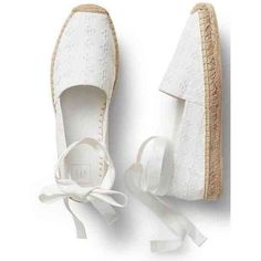 Eyelet lace-up espadrilles | Gap ❤ liked on Polyvore featuring shoes, sandals, flats, zapatos, espadrilles, flat pump shoes, flat pumps, espadrille flats, espadrille shoes and flat heel sandals