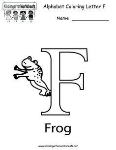 Kindergarten Letter F Coloring Worksheet Printable