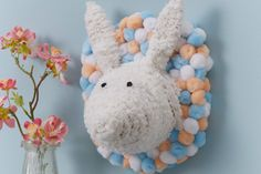 How to Make a Wool-Wrapped Bunny Head #easter #bunny #mache #rabbit #decoration