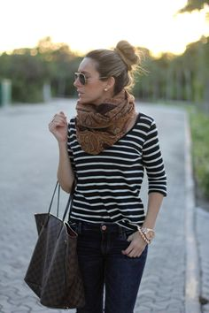 stripes with oversized printed scarf