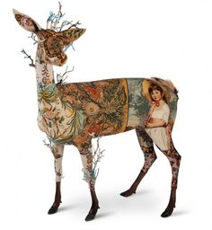 "la biche means deer! artwork: Frederique Morrel - ""Life is a Biche"", 2010 - Mixed media, vintage tapestries, foam, fur - 180 x 200 x 75 cm. - Courtesy of Stephanie Hoppen Gallery. On view at Art Antiques London from June until June Art Textile, Textile Artists, Cerf Design, Frederique, Illustration Art, Illustrations, Galerie D'art, Art Sculpture, Wow Art"