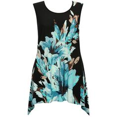M&Co Plus Floral Print Dipped Hem Top ($35) ❤ liked on Polyvore featuring tops, navy, plus size, floral print tops, navy tops, floral sleeveless top, navy blue top and women plus size tops