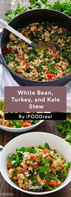 White Bean, Turkey, and Kale Stew #healthy #dinner #recipes http ...