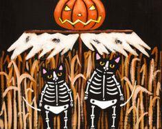 Pumpkin Kitty and Ghosts Original Halloween Cat by KilkennyCatArt