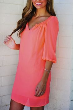 Coral neon summer dress ...