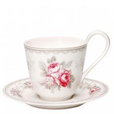 Mugs,Tasses, Latte cups Tasse et soucoupe - Greengate - Sophie Vintage Tea Cup Set, Tea Cup Saucer, Latte Cups, Coffee Cups, Vintage Cups, Vintage Green, Magnolias, Tea Party, Stoneware